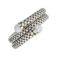 John Hardy Freshwater Pearl Dot Bracelet Sterling Silver Double Coil Wrap