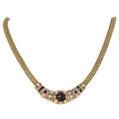 John Hardy Garnet and Diamond Classic Chain Necklace, 18 Karat Gold 6.94 Carat