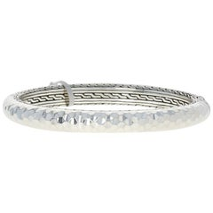 John Hardy Hammered Classic Chain Oval Hinged Bangle Bracelet Sterling Silver