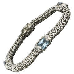 John Hardy Jaisalmer Gold and Silver Blue Topaz Woven Wheat Chain Bracelet