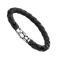 John Hardy Kali Silver Bracelet on Black Woven Leather BM2391BLXM