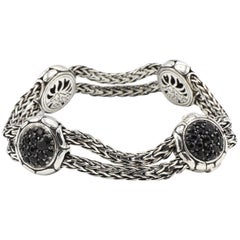John Hardy Kali Sterling Silver Four-Station Bracelet with Black Sapphires