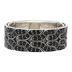 John Hardy Lava Black Sapphire Classic Chain Band Sterling Silver Men's Ring