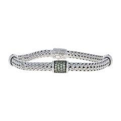 John Hardy Lava Grey Sapphire Classic Chain Station Bracelet Sterling
