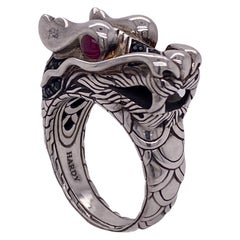 John Hardy Legends of Naga Dragon Ring Sterling Silver Black Sapphire Accents