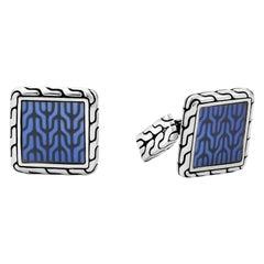 John Hardy Men's Classic Chain Blue Enamel Cufflinks