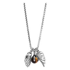 John Hardy Men's Eagle Charm Necklace with Tiger Eye NBS933261TEX26