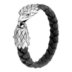 John Hardy Men's Legends Eagle Silver Eagle Head Bracelet BMS997311BLBCLXM