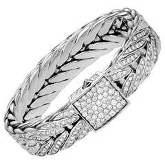 John Hardy Men's Modern Chain Silver Diamond Pave 6.16ct Bracelet BMP901142DIXM
