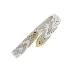 John Hardy Modern Chain Flex Cuff Bracelet Sterling and 18 Karat Yellow Gold