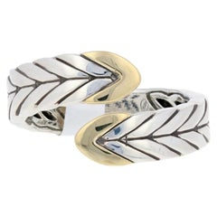 John Hardy Modern Chain Ring, Sterling Silver and 18 Karat Gold Statement Bypass