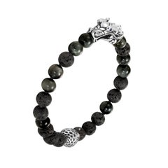 John Hardy Naga Bead Bracelet with Eagle Eye and Black Volcanic BMS650104EGBSPXM