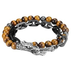 John Hardy Naga Wrap Bracelet with Tiger Eye BMS65551TEXM