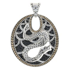 John Hardy Sapphire Oval Dragon Enhancer Pendant, Sterling Silver and 18k Gold