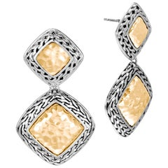 John Hardy Silver Classic Chain 18 Karat Gold 1619 Earrings