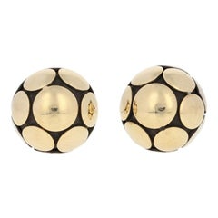 John Hardy Sterling & 1/3 18 Karat Yellow Gold Earrings 925 Small Dot Ball Studs