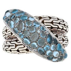 John Hardy Sterling Blue Topaz and Zircon Ring, 925 Classic Chain Crossover