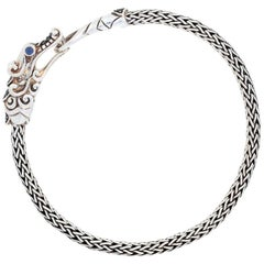 John Hardy Sterling Sapphire and Black Spinel Bracelet, 925 Legends Naga