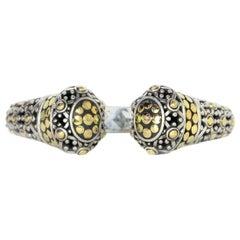 John Hardy Sterling Silver/18K Gold Jaisalmer Dot Kick Cuff Bracelet w/ Box