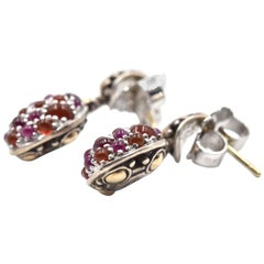 John Hardy Sterling Silver & 18k Rose Gold Batu Jaisalmer Garnet Earrings