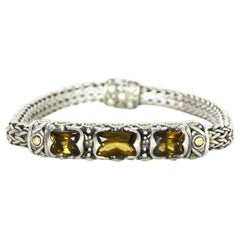 John Hardy Sterling Silver/18K Yellow Gold Wheat Chain Citrine Bracelet