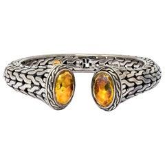 John Hardy Sterling Silver 22 Karat Gold Classic Chain Cuff Bracelet