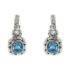 John Hardy Sterling Silver 6.12 Carat Cushion Cut Blue Topaz Dro/Dangle Earrings