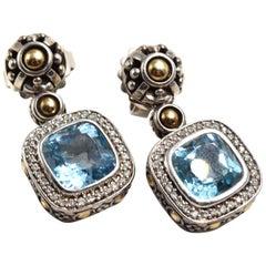 John Hardy Sterling Silver and 18 Karat Yellow Gold Blue Topaz Earrings