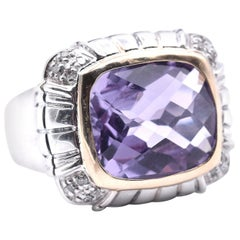 John Hardy Sterling Silver and 18 Karat Yellow Gold Amethyst and Diamond Ring