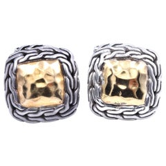 John Hardy Sterling Silver and 22 Karat Yellow Gold Classic Chain Cufflinks