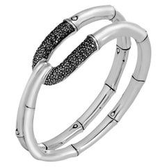 John Hardy Sterling Silver Bamboo Flex Cuff with Black Sapphire, CBS59884BLSXM