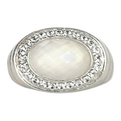 John Hardy Sterling Silver Bedeg Ring W/ Milky Quartz & White Sapphire Sz 7