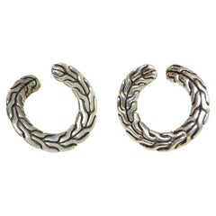 John Hardy Sterling Silver Carved Classic Chain Round Stud Earrings