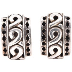 John Hardy Sterling Silver Carved Elongated Studs