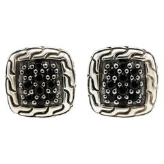 John Hardy Sterling Silver Classic Chain Stud Earring with Black Sapphires