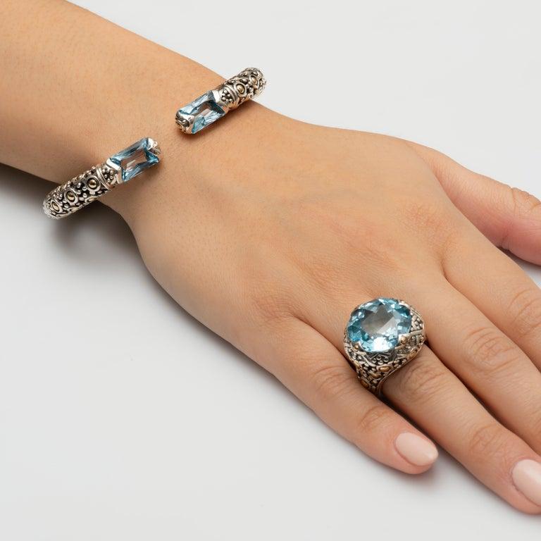 Women's John Hardy Sterling Silver Cuff Bracelet with 2 Radiant Cut Blue Topaz For Sale