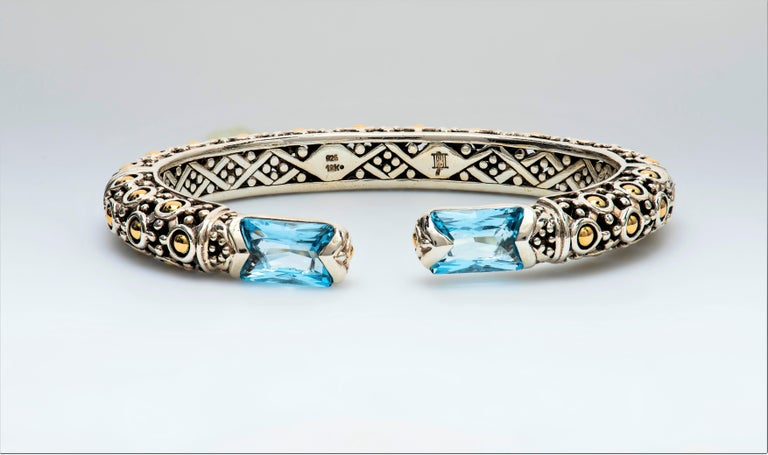 John Hardy Sterling Silver Cuff Bracelet with 2 Radiant Cut Blue Topaz For Sale 1