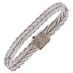 John Hardy Sterling Silver Diamond Modern Chain Bracelet