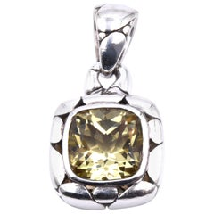 John Hardy Sterling Silver Kali Collection Lemon Quartz Pendant
