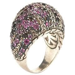 John Hardy Sterling Silver Rhodolite and Smoky Quartz Palu Macan Lava Dome Ring