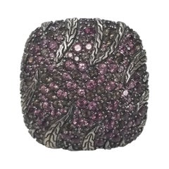 John Hardy Sterling Silver Ring with Pink Sapphires on the Top