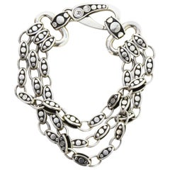 John Hardy Sterling Silver Three Strand Dot Bracelet with Dust Bag