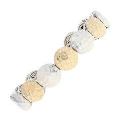 John Hardy Three-Station Dot Flex Cuff Bracelet Sterling 1/3 18 Karat Gold