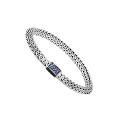 John Hardy Tiga Chain Bracelet with Blue and Black Sapphire BBS905034BLSBNBS