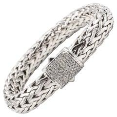John Hardy Tiga Sterling Silver & 18K Gold Classic Chain Woven Diamond Bracelet