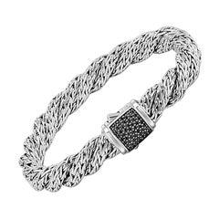 John Hardy Twisted Chain Bracelet with Black Sapphire BBS998184BLSXM
