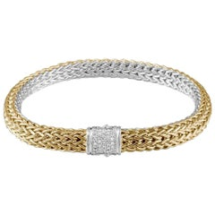 John Hardy Women's Classic Chain Gold and Silver Diamond Pave 0.16 Carat