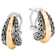 john Hardy Women's Classic Chain Hammered 18K Gold & Silver Buddha Belly Earring