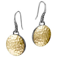 John Hardy Women's Dot Hammered Gold & Silver Round Drop Earrings on French wire