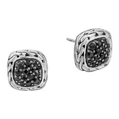 John Hardy Women's Lava Small Square Earrings with Black Sapphire EBS92372BLS